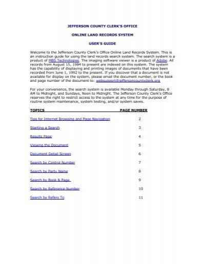 jefferson county clerk's office online land records system - jcco