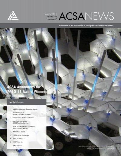 Acsa Announces The 2010 11 Award Winners Association Of