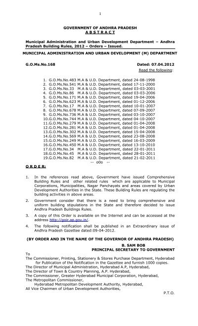 Andhra Pradesh Building Rules 2012 GO Ms 168 - Greater