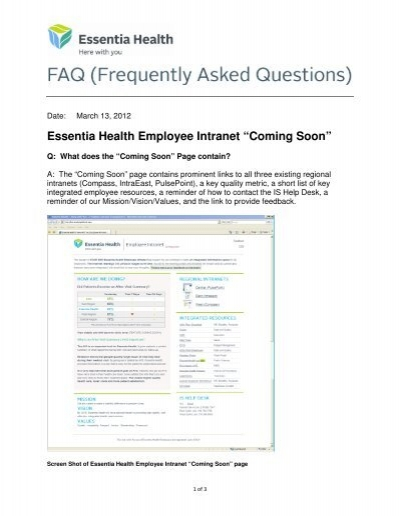 useful links for essentia health employees