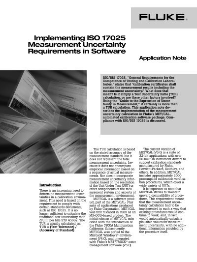 Application Note Implementing ISO 17025 Measurement Uncertainty
