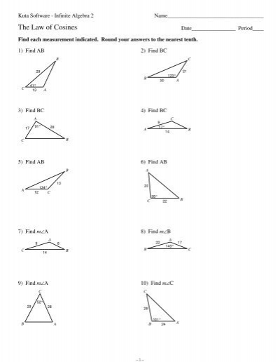 Worksheets Law Of Cosines Worksheet law of cosines kutasoftware