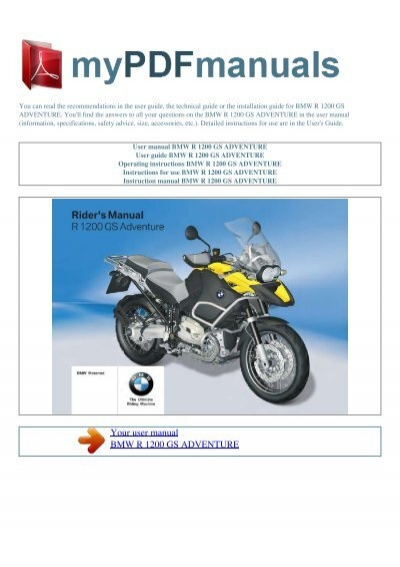 user manual bmw r 1200 gs adventure my pdf manuals rh yumpu com bmw r1200gs owners manual 2014 bmw r1200gs repair manual