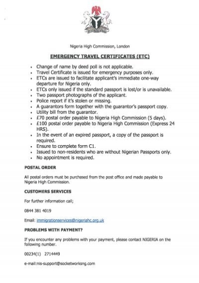emergency travel certificates (etc_) - Nigeria High Commission