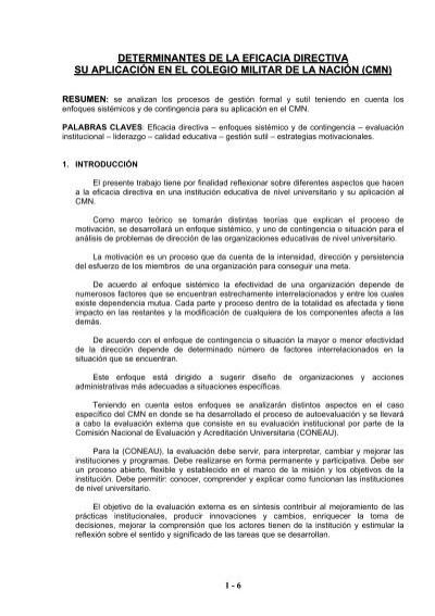 Determinantes De La Eficacia Directiva Su Aplicacin
