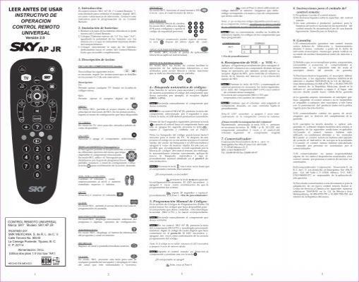 manual control sky ap jr pdf