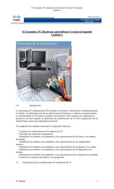 It Essentials Pc Hardware And Software Version 4 0 Spanish