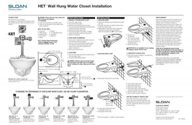 Het Wall Hung Water Closet Installation Sloan Valve Company