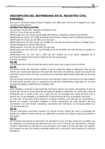 Matrimonio Registro Civil : Inscripción matrimonio registro civil español immigrabalears