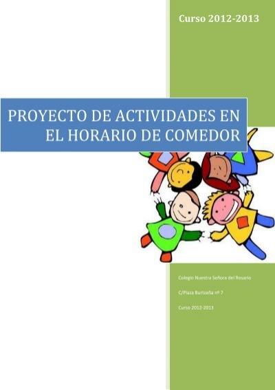Proyecto sodexo para actividades en horario de comedor for Proyecto comedor infantil