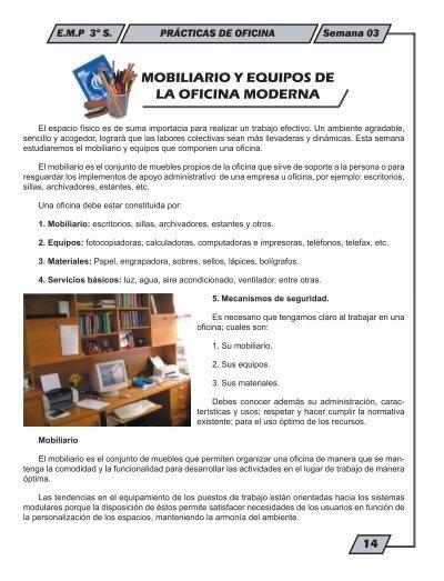 Mobiliario y equipos de la oficina moderna educom for Lista de muebles de oficina