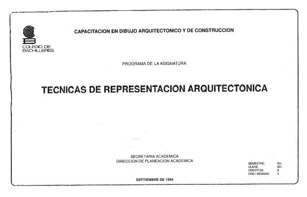 T Cnicas De Representaci N Arquitect Nica Colegio De