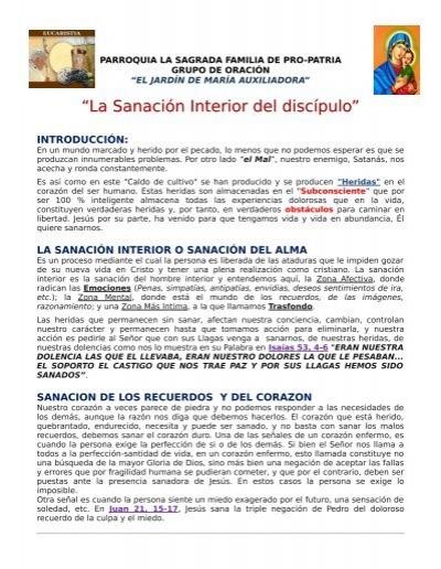 La Sanaci N Interior Del Disc Pulo Grupo De Oraci N El Jard N De