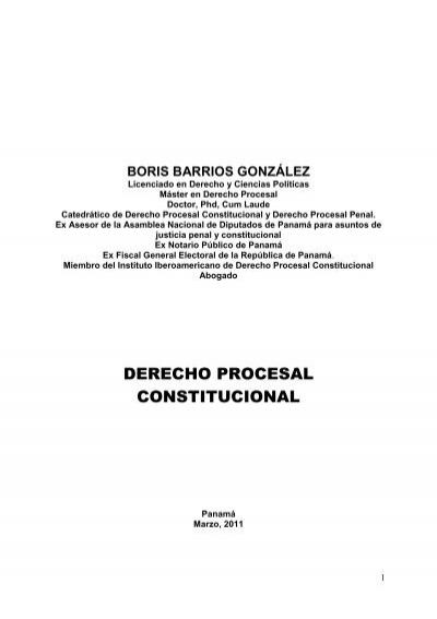 Derecho Procesal Constitucional Dr Boris Barrios González