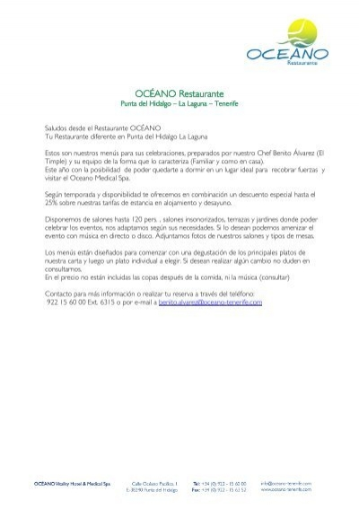 Menus Eventos Océano Vitality Hotel Medical Spa