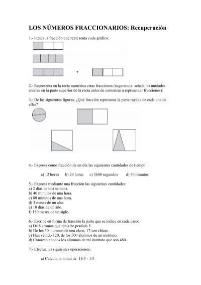 Los Números Fraccionarios Recuperación Matemáticas
