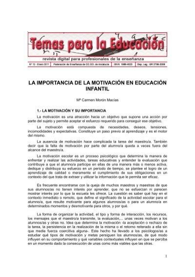 La Importancia De La Motivación En Educación Infantil Ccoo