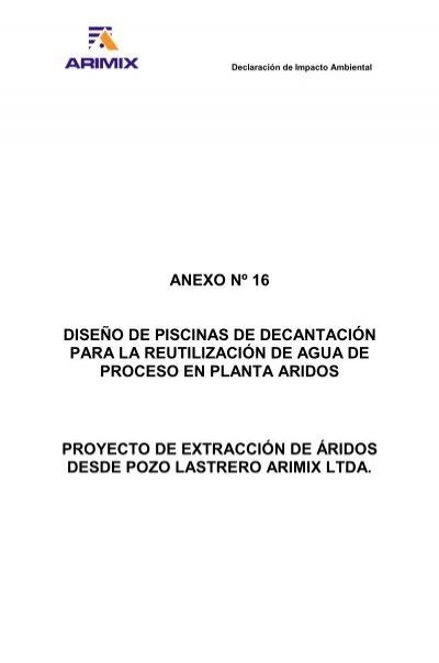 Anexo n 16 dise o de piscinas de decantaci n para la for Diseno de piscinas pdf
