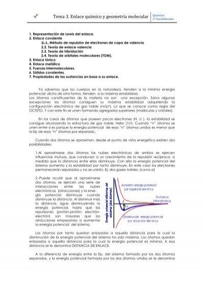 Tema 3 Enlace Químico Y Geometría Molecular Química