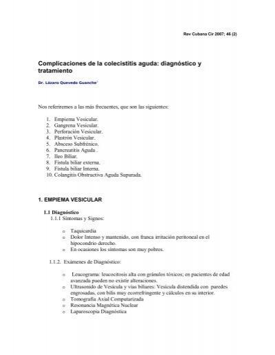 colecistolitiasis complicaciones de diabetes