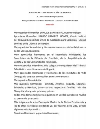 BODAS DE PLATA DE ORDENACIÓN SACERDOTAL P. Carlos