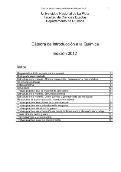 Cátedra De Introducción A La Química Edición 2012 Cátedras