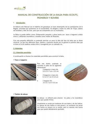 Manual de construcci n de la balsa para scouts for Manual de construccion