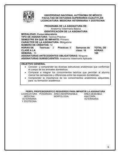 1101 Anatomía Veterinaria Básica - Facultad de Estudios ...