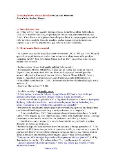 La Verdad Sobre El Caso Savolta De Eduardo Mendoza