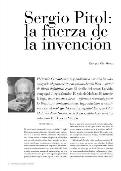 Sergio Pitol Revista De La Universidad De México