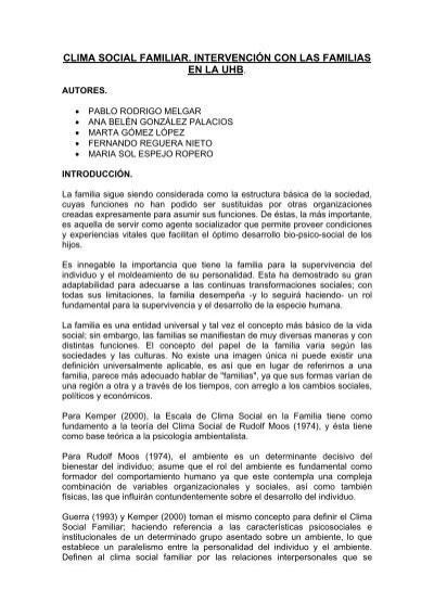 Clima Social Familiar Intervención Con Las Familias En La