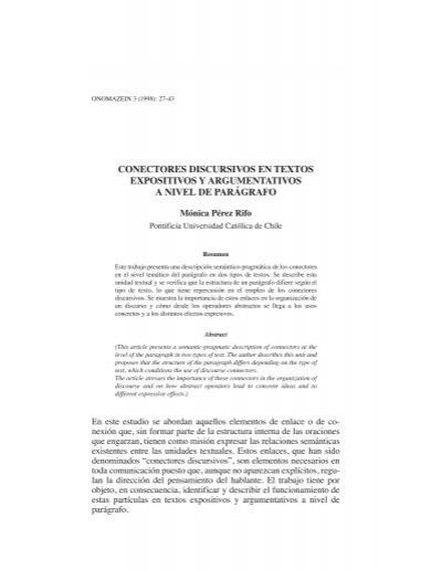 Conectores Discursivos En Textos Expositivos Y Onomázein