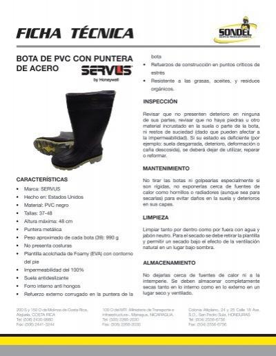 Ficha Tecnica Botas Con Puntera