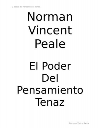 Norman Vincent Peale O Poder Do Pensamento Positivo Pdf
