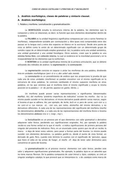 1 1 Análisis Morfológico Clases De Palabras Y Sintaxis
