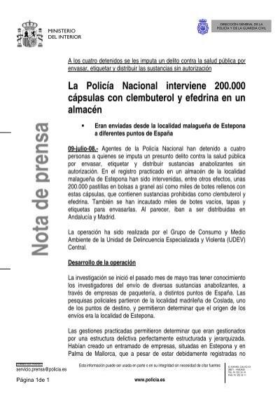 Pdfnota de prensa ministerio del interior for Ministerio de interior legalizaciones
