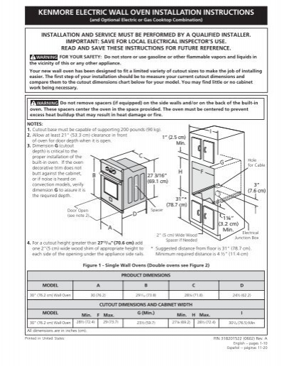 Electric Wall Oven Installation Instructions Manual Guide