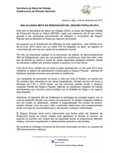 Secretaría De Salud De Hidalgo Subdirección De Difusión
