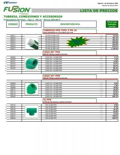 Lista de precios polipropileno termofusion grupo sml - Tuberia de polietileno precios ...