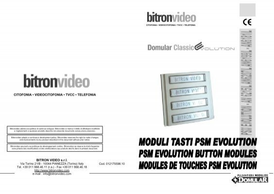 Bitron video srl citofonia door entry direct cheapraybanclubmaster Gallery