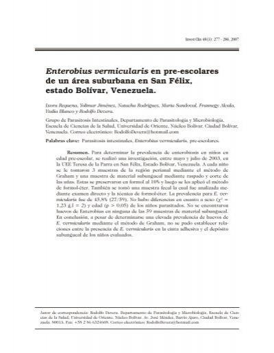 Papilloma virus tumore maligno, Enterobius vermicularis scielo