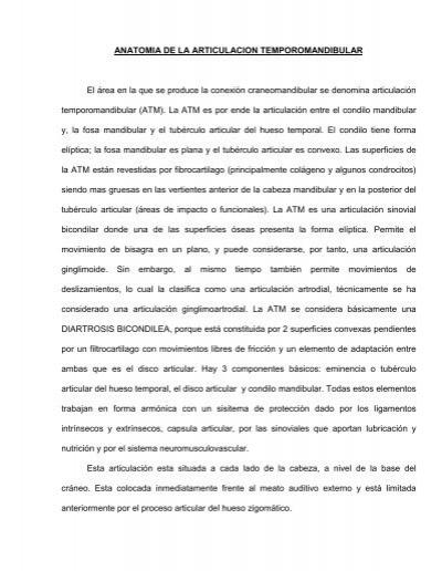 ANATOMIA DE LA ARTICULACION TEMPOROMANDIBULAR El ...