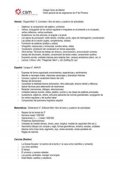Colegio Suizo De Madrid Visión General De Las Asignaturas De