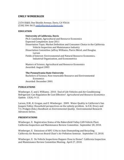 emily wimberger cv agricultural resource economics at