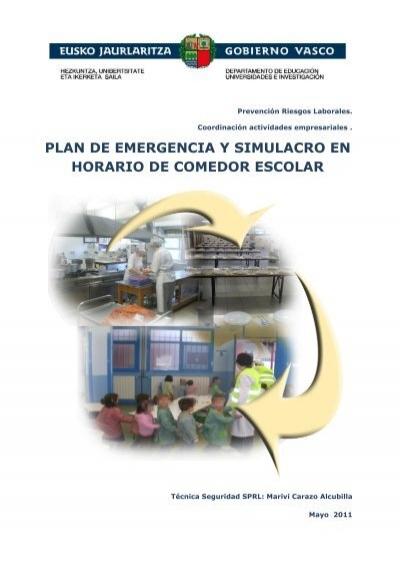 plan de emergencia y simulacro en horario de comedor escolar