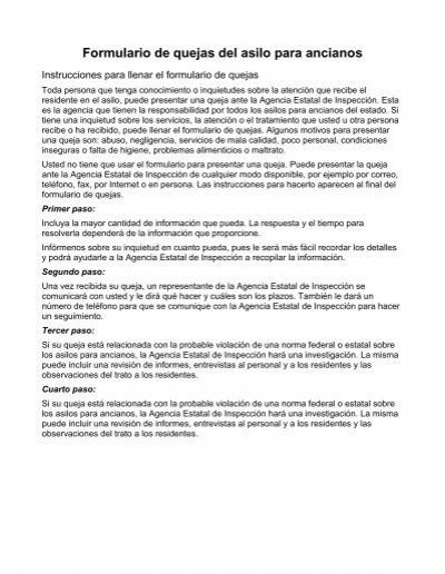 Formulario de quejas del asilo para ancianos for Asilo de ancianos pdf