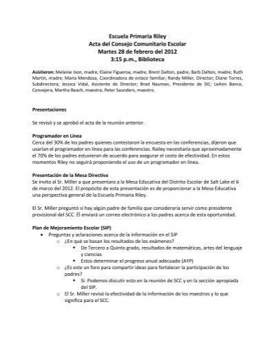 Escuela primaria riley acta del consejo comunitario for Acta familiar