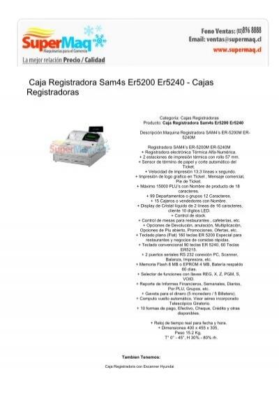 Caja Registradora Sam4s Er5200 Er5240 - Cajas ... - Sobadora