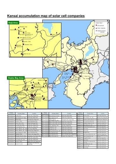 Kansai accumulation map of solar cell companies