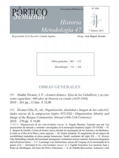 Historia Metodología 47 Pórtico Librerías